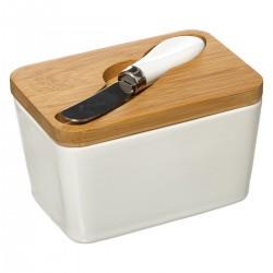 Beurrier en céramique avec couteau - Blanc