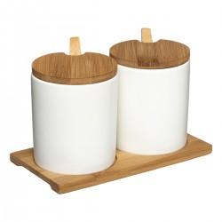 Lot de 2 pots à épices en céramique sur support - Blanc