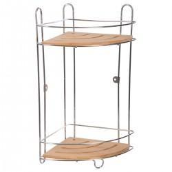 Étagère d'angle à 2 plateaux en métal et bambou
