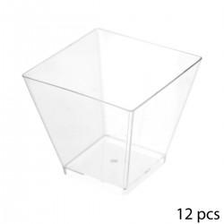 Lot de 12 verrines carrées en plastique 6cL - Transparent
