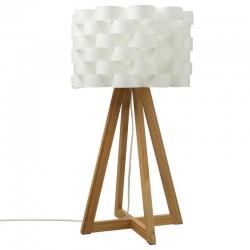 Lampe en bambou H55cm MOKI - Blanc et bois