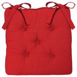 Galette de chaise 5 boutons - Rouge