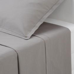 Drap plat en coton 290X180cm - Gris