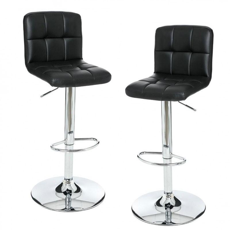 set de 2 tabourets de bar en simili cuir delek noir veo shop. Black Bedroom Furniture Sets. Home Design Ideas