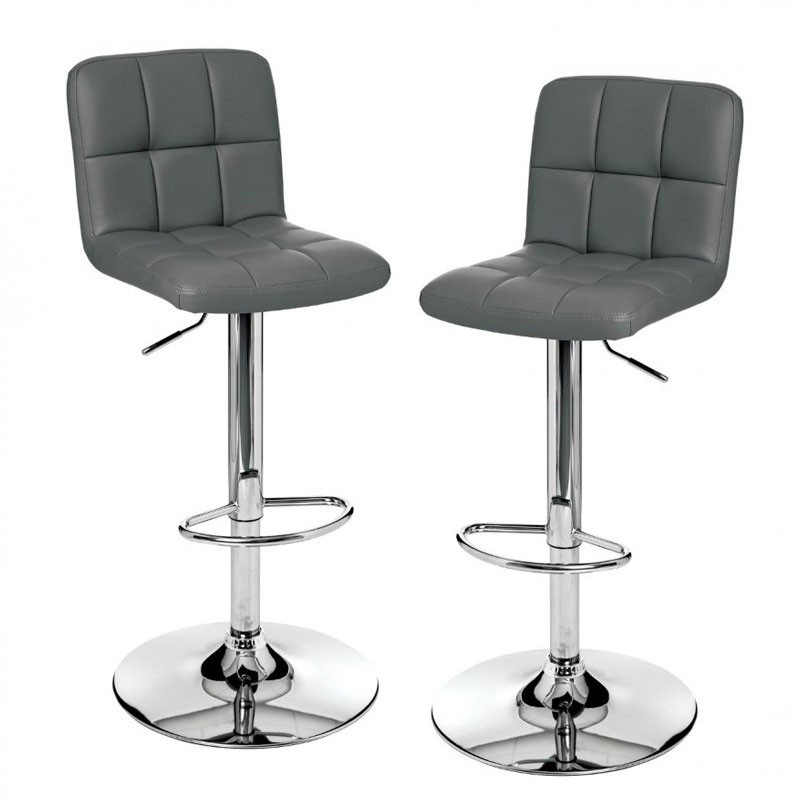 set de 2 tabourets de bar en simili cuir delek gris veo shop. Black Bedroom Furniture Sets. Home Design Ideas
