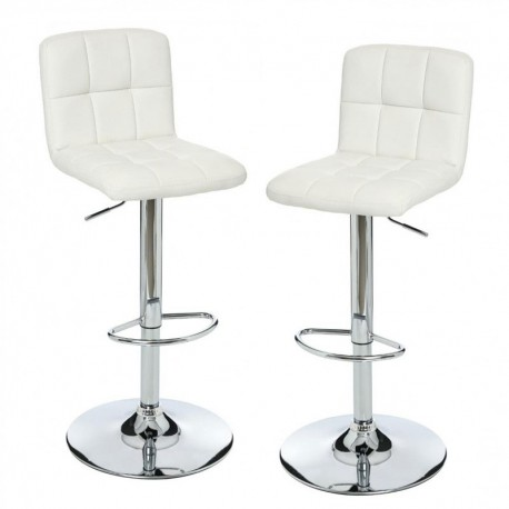 set de 2 tabourets de bar en simili cuir delek blanc veo shop. Black Bedroom Furniture Sets. Home Design Ideas