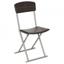 Chaise pliante en PVC - Marron