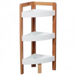 Étagère d'angle en bambou à 3 niveaux - Blanc