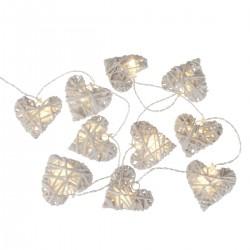 Guirlande à LED 10 coeurs en osier
