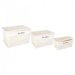 Lot de 3 coffres de rangement CHIC - Blanc