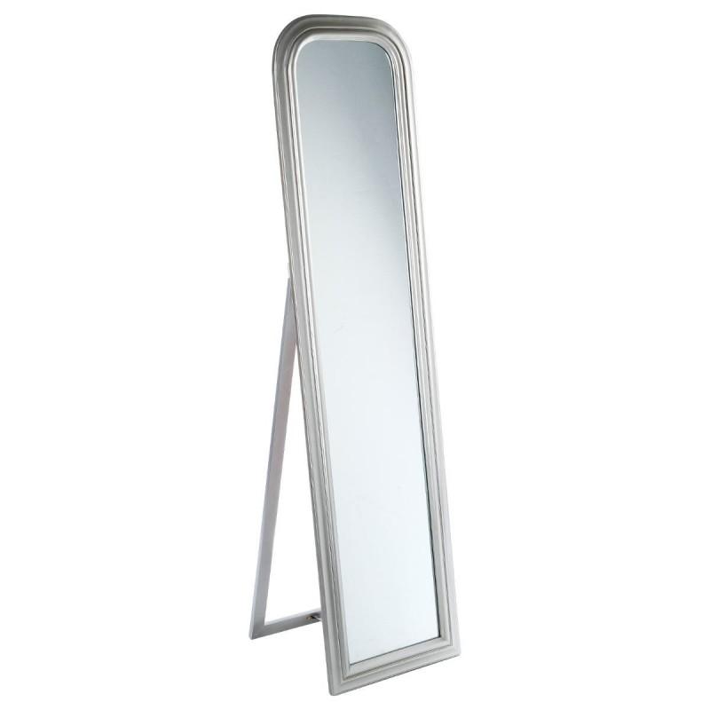 Miroir sur pied en bois 160x40cm argent veo shop for Miroir sur pied en bois