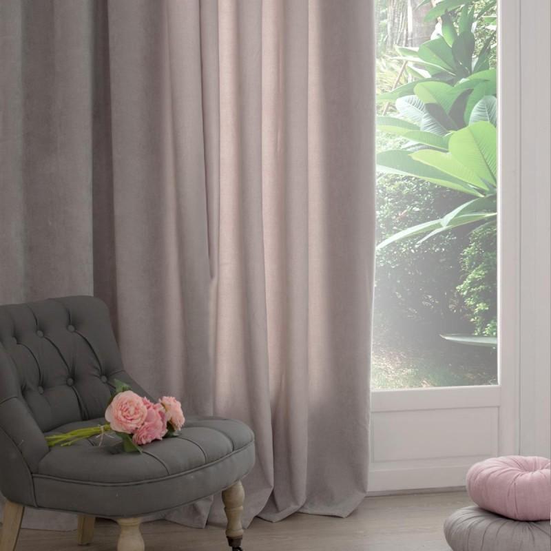 rideau 260x140cm memories gris clair veo shop. Black Bedroom Furniture Sets. Home Design Ideas