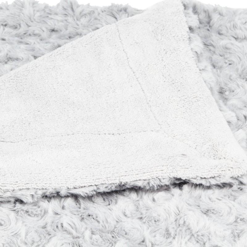 plaid fourrure boucl e 230x180cm gris clair veo shop. Black Bedroom Furniture Sets. Home Design Ideas