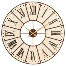 Pendule en bois et cadran en métal D58cm ESPRIT CAMPAGNE - Beige