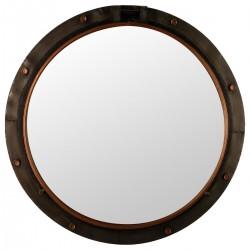 Miroir hublot en métal D74cm - Marron