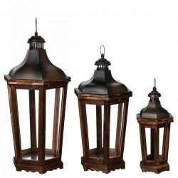 Lot de 3 lanternes octogonales en bois