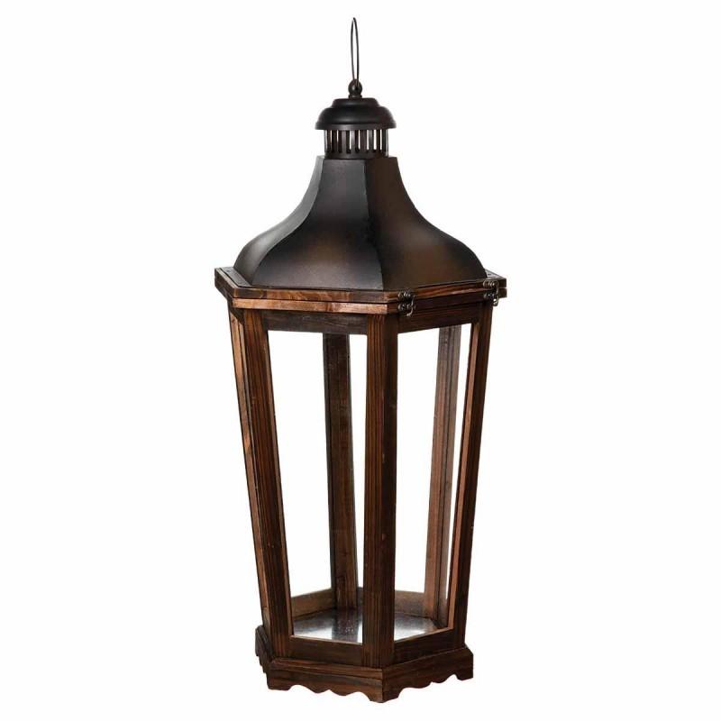 Lot de 3 lanternes octogonales en bois veo shop - Lanterne en bois ...