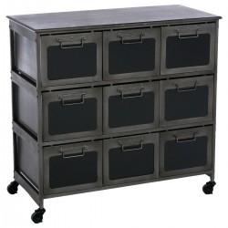 Commode en métal à 9 tiroirs ZARET, ESPRIT RÉCUP - Noir