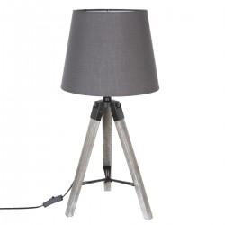 Lampe en bois avec trépied H58 RUNO - Gris