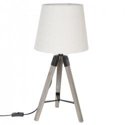 Lampe en bois avec trépied H58cm RUNO - Blanc