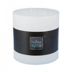 Bougie rustique ronde 14X14cm - Blanc