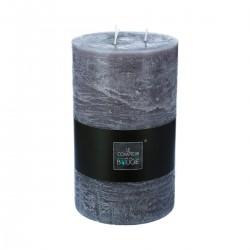 Bougie rustique ronde 23X14cm - Gris