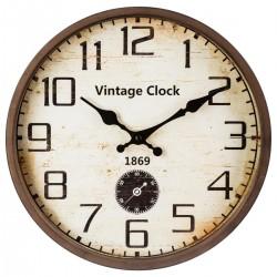 Pendule D30cm VINTAGE CLOCK - Marron