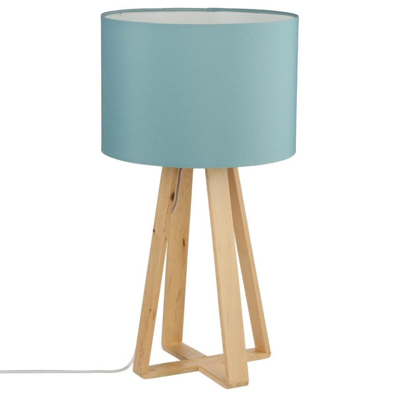 lampe sur pieds en bois h47 5 bleu veo shop. Black Bedroom Furniture Sets. Home Design Ideas