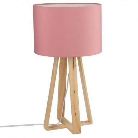 lampe sur pieds en bois h47 5 rose veo shop. Black Bedroom Furniture Sets. Home Design Ideas