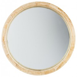 Miroir rond en bois D50cm HAPPY SCANDINAVE - Beige