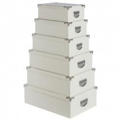 Lot de 6 boîtes effet peau crocodile - Blanc