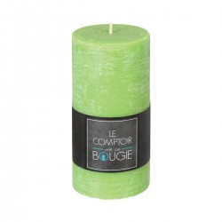 Bougie rustique ronde H14cm - Vert