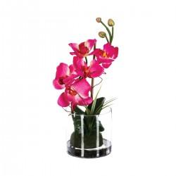 Composition d'orchidées roses avec vase en verre H32cm