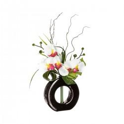 Composition d'orchidées blanches et roses avec vase en verre H44