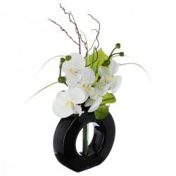 Composition d'orchidées blanches avec vase noir en verre H44cm