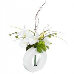 Composition d'orchidées blanches avec vase blanc H44cm
