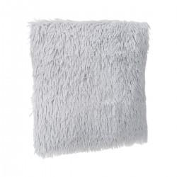 Coussin déhoussable à effet fourrure poils longs - Gris