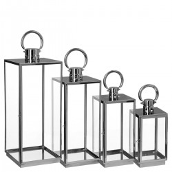 Lot de 4 lanternes d'extérieur en inox CONTEMP' HOME