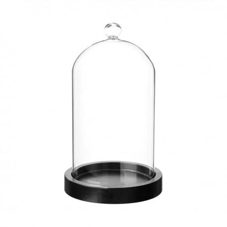 cloche en verre sur socle en bois h19cm noir veo shop. Black Bedroom Furniture Sets. Home Design Ideas